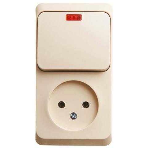 Блок на 2 поста вертикальный, розетка электрическая без заземления и выключатель одноклавишный с подсветкой. Цвет Кремовый. Schneider Electric(Шнайдер электрик). Этюд. BPA16-206K