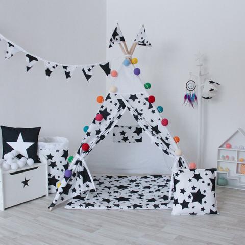 Подушка Black Stars черные звезды