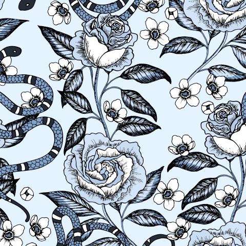 Змейки и цветы