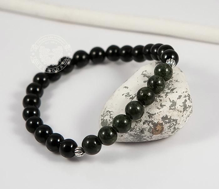 Boroda Design, Мужской браслет из натурального камня, агат и змеевик