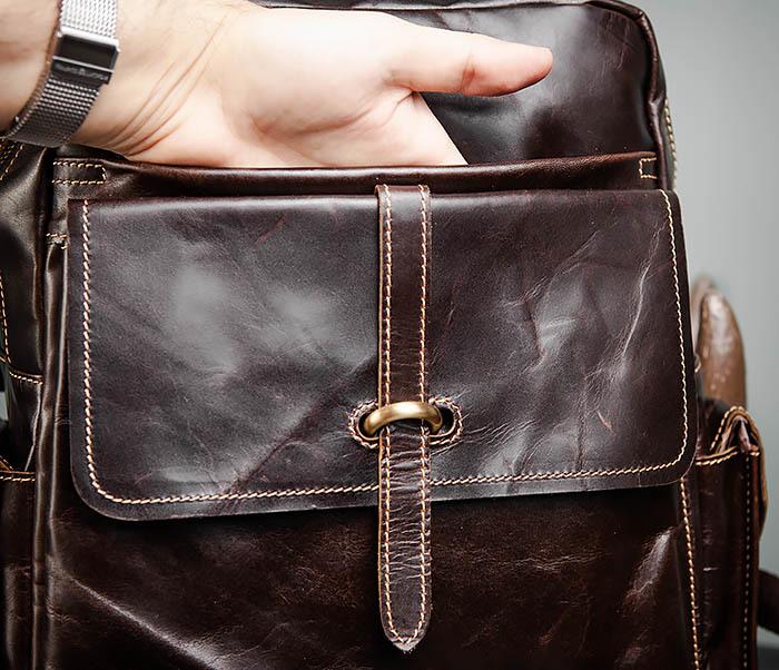BAG460-2 Мужской городской рюкзак из натуральной кожи фото 11
