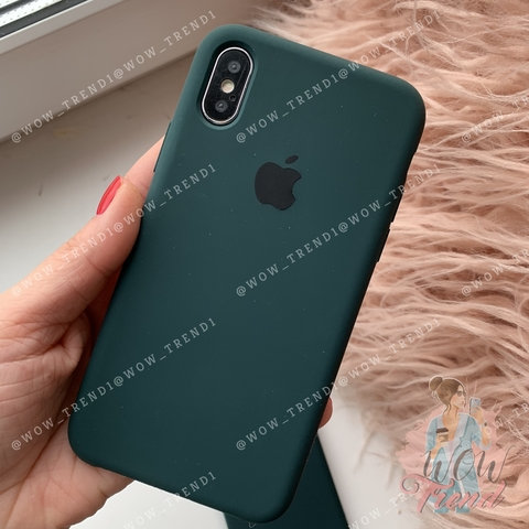 Чехол iPhone XS Max Silicone Case Full /forest green/