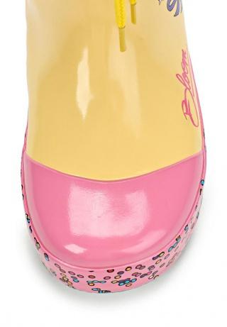 Резиновые сапоги Винкс (Winx) утепленные на шнурках для девочек, цвет желтый розовый