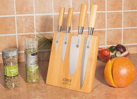 Набор из 4 ножей на магнитном блоке Suncraft MU-003/Bam