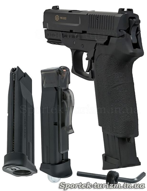Вид сзади и магазин газобаллонного пневматического пистолета SAS Sig Pro 2022
