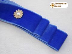 Лента Бархатная синяя 38 мм