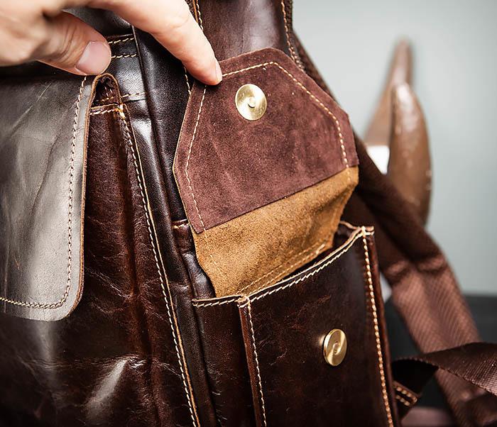 BAG460-2 Мужской городской рюкзак из натуральной кожи фото 13