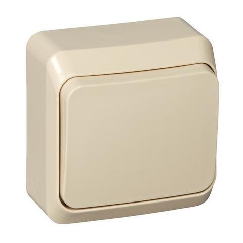 Выключатель одноклавишный (схема 1) 10 АХ 250 В. Цвет Кремовый. Schneider Electric(Шнайдер электрик). Этюд. BA10-001K