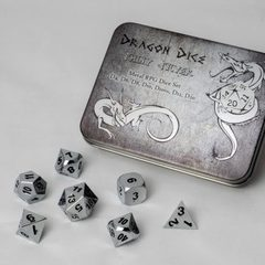 Blackfire Dice Dragon Dice Set Shiny Silver