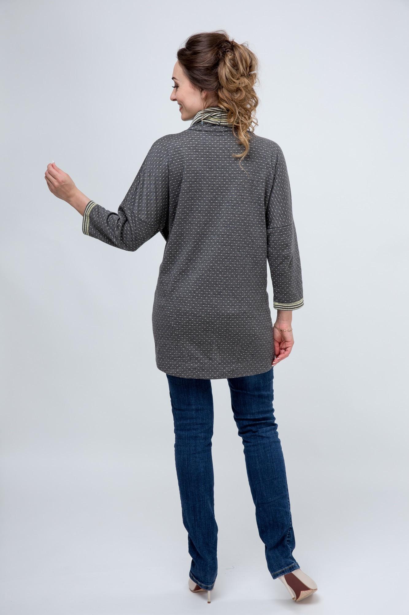Блуза 03808 серый/желтый горох
