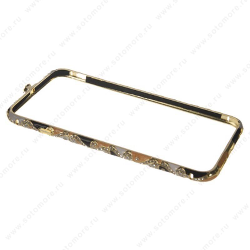 Бампер Heimeiren металический для iPhone 6s Plus/ 6 Plus стразы золото с оранжевым, черным, белым