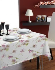 Скатерть 170260 и 12 салфеток Mirabello Fiori di Passiflora лиловая
