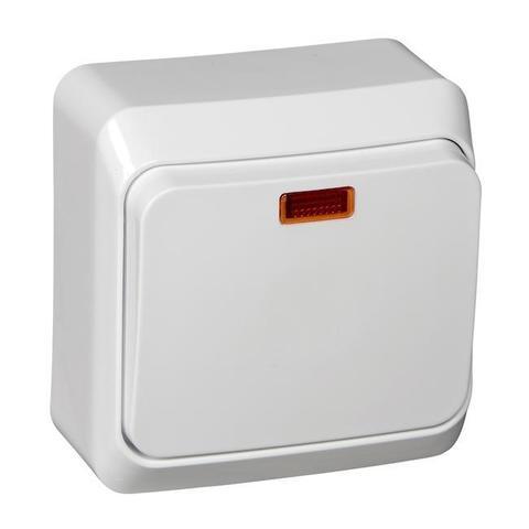 Выключатель одноклавишный с подсветкой (схема 1) 10 АХ 250 В. Цвет Белый. Schneider Electric(Шнайдер электрик). Этюд. BA10-005B