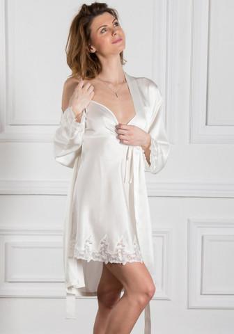 Ночнушка женская шелковая с халатом и кружевом