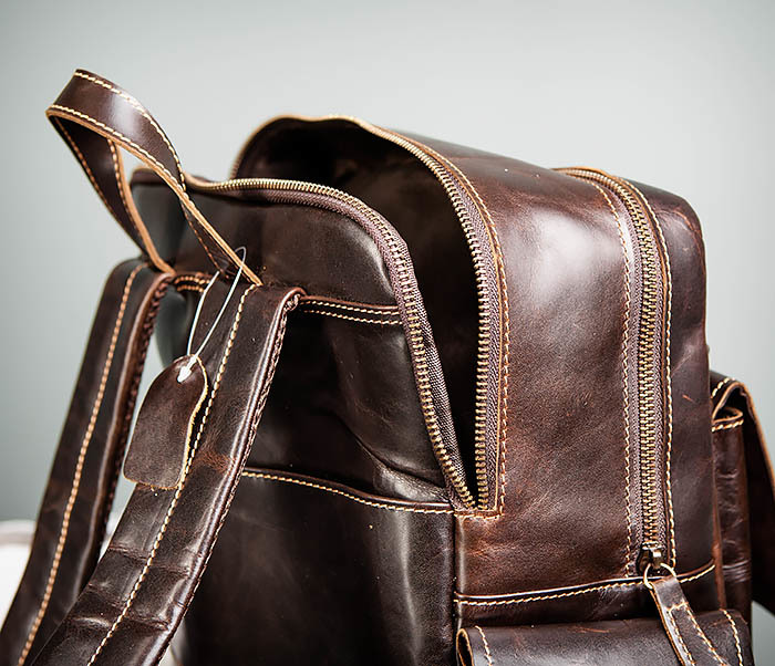 BAG460-2 Мужской городской рюкзак из натуральной кожи фото 16