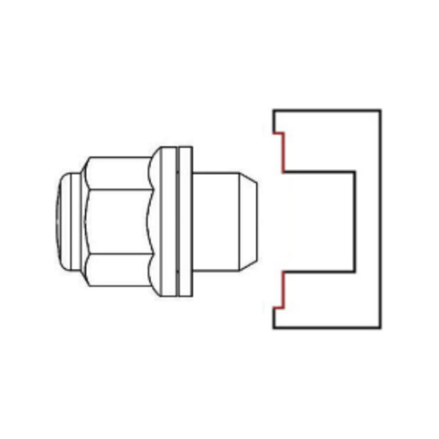 Гайка колёсная М14x1.5 длина=46мм ключ=22мм с шайбой закрытая оригинал