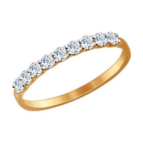 Тонкое кольцо из золота с фианитами арт. 017169