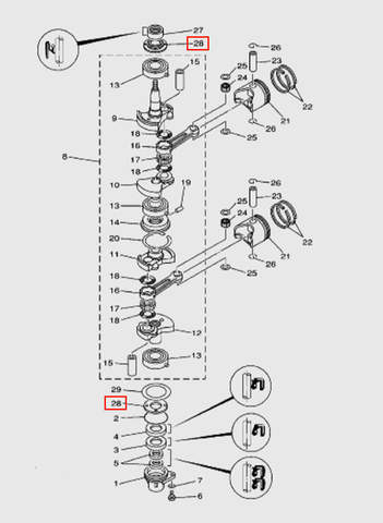 Проставка коленвала  для лодочного мотора T15, OTH 9,9 SEA-PRO (3-28)