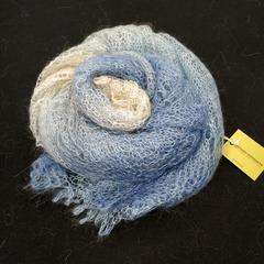Оренбургский пуховый палантин бело-голубой 46