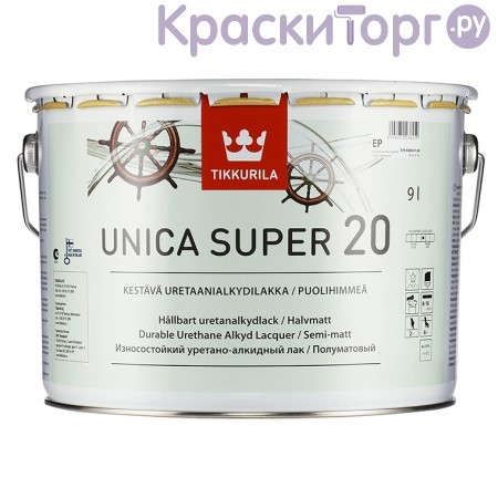 Лак яхтный Tikkurila Unica Super 20 / Тиккурила Уника Супер 20 полуматовый