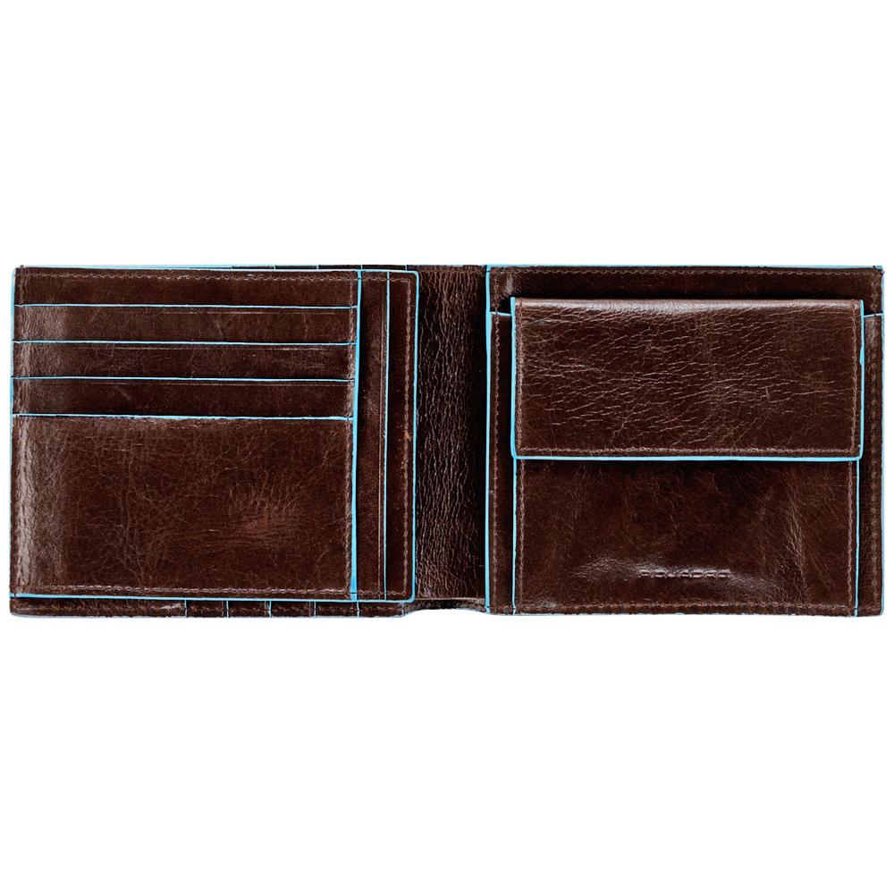 Портмоне Piquadro Blue Square, цвет коричневый, 12,5х9,5х2,5 см (PU1240B2/MO)