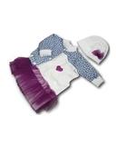 Комплект с джинсовой курткой - Лиловый. Одежда для кукол, пупсов и мягких игрушек.