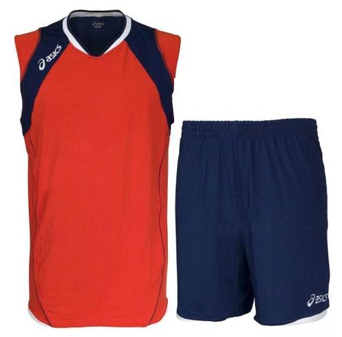 Мужская волейбольная форма Asics Set Volley Smu красная-т.синяя