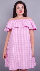 Бали. Модное платье с воланом большие размеры. Розовая клетка.
