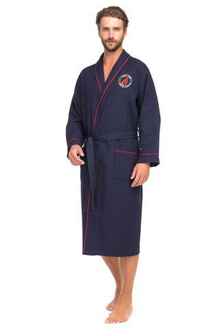 Вафельный бамбуковый халат 415 синий