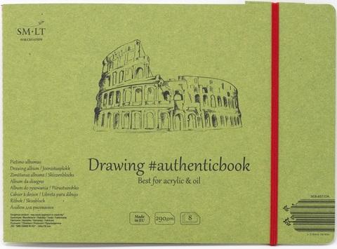 Альбом для акрила Authentic Acrylic 290г/м2 24.5*18.5см 8листов с закладкой-застежкой книжный переплет (сшитый)