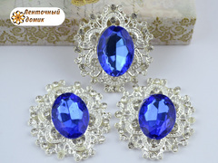 Камни в ажурной серебряной оправе синие (УЦЕНКА)