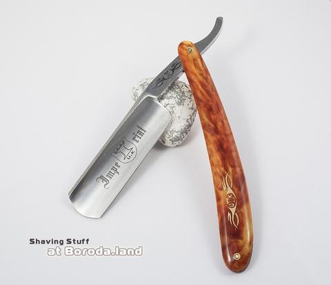 RAZ107 Опасная бритва с &#34огненной&#34 пластиковой рукояткой