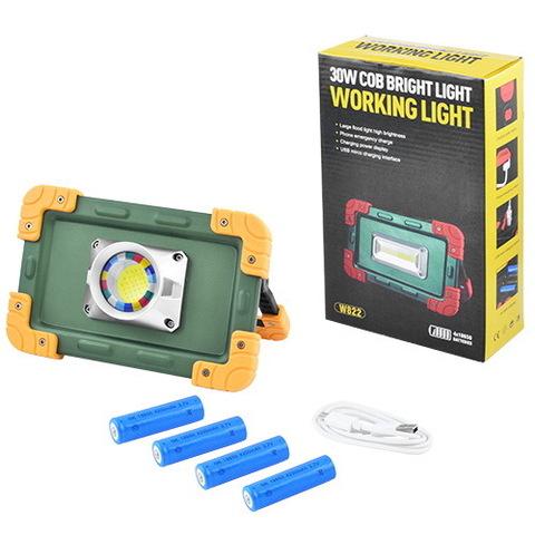 Прожектор светодиодный W823-30W-COB, 4x18650, ЗУ microUSB, PwrBnk
