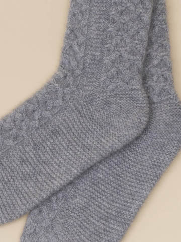 Женские носки серого цвета из 100% кашемира - фото 2