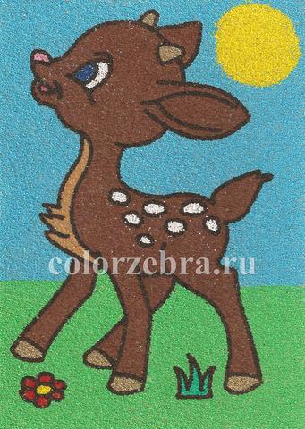 Трафарет для картины из цветного песка оленёнок