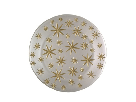 Golden Stars  Charger Plater White/Gold