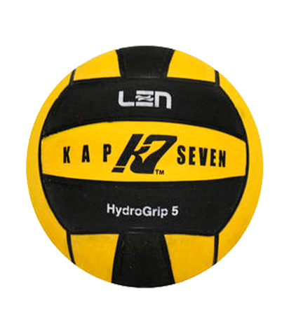Официальный ватерпольный мяч KAP7 Official LEN + FINA Game Ball K7 5 yellow-black Размер 5 мужской арт.B-K7-LEN-5-0109