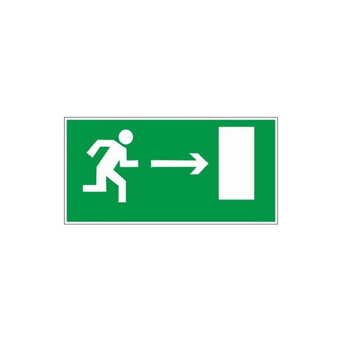 Знак безопасности E03 Направл-е к эв.вых.направо (пластик,ф/л,300х150)