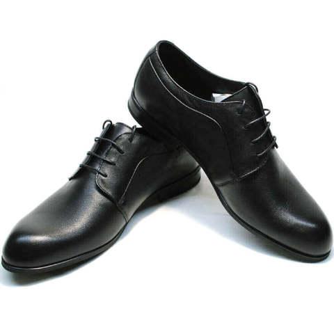 Кожаные туфли дерби.  Черные туфли мужские классические Ikoc-ClassicBlack.