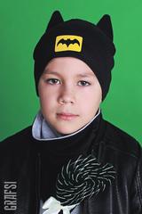 016Р Шапка Супергероя двухслойная с ушками. Черная.