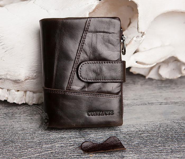 WL257-3 Вместительное мужское портмоне коричневого цвета на застежке