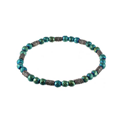 Браслет мужской из гематита сине-зелёный  JV TOE-267-60141