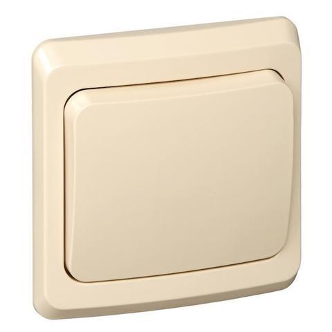 Выключатель одноклавишный (схема 1) 10 АХ 250 В. Цвет Кремовый. Schneider Electric(Шнайдер электрик). Этюд. BC10-001K