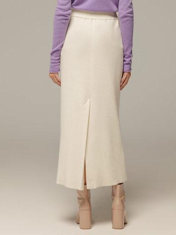 Женская белая юбка с разрезом из 100% кашемира - фото 4