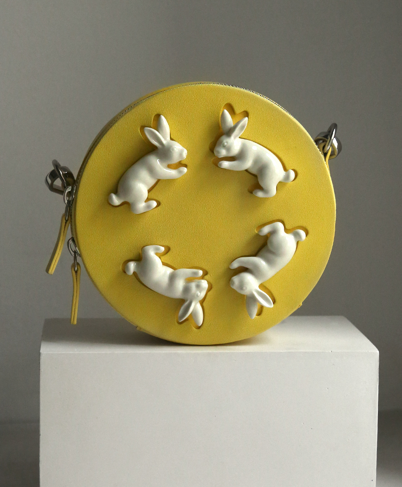 Сумка из кожи Round Mini Hares Yellow