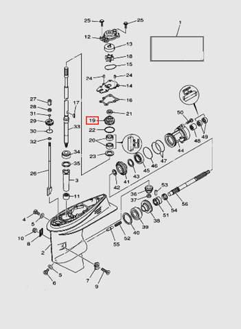 Корпус помпы нижний для лодочного мотора T40 Sea-PRO (23-19)