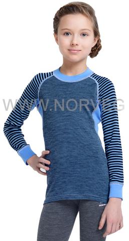 Термобелье рубашка из шерсти мериноса Norveg Climate Control Blue детская