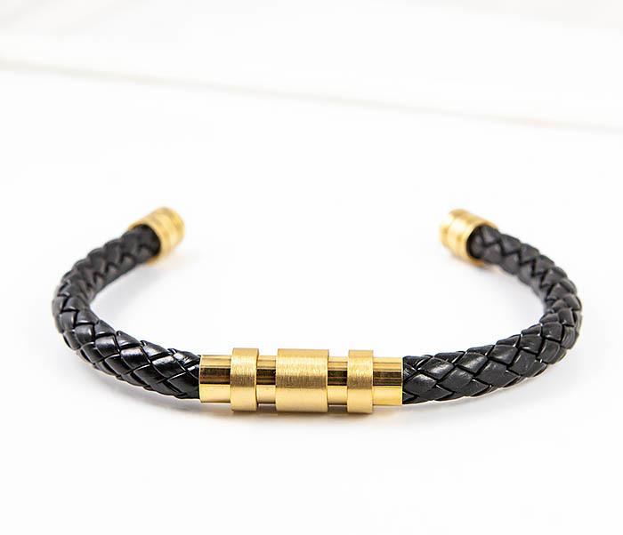 BM559-2 Зажимной браслет из плетеного шнура с золотистой вставкой фото 04