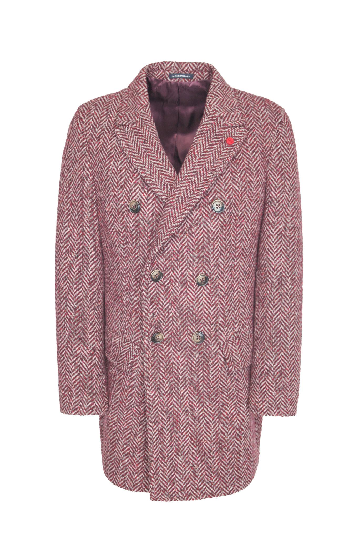 Двубортное бордовое шерстяное пальто «в ёлочку»