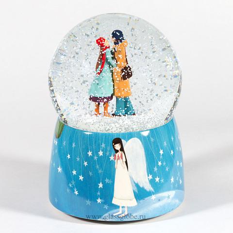 Стеклянный шар со снегом Ты и Я. Музыкальный с вращением.